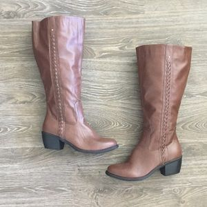Nicole Knee High Brown Riding Boots